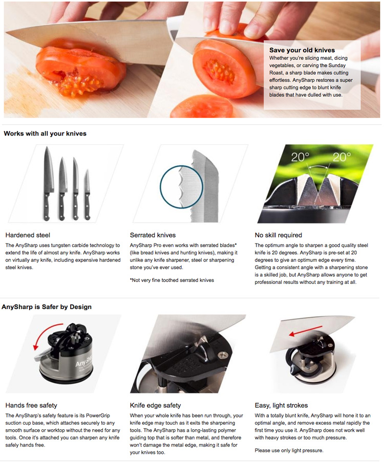 Anysharp knife blade sharpener features